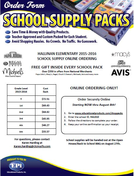 School Supplies Order Form